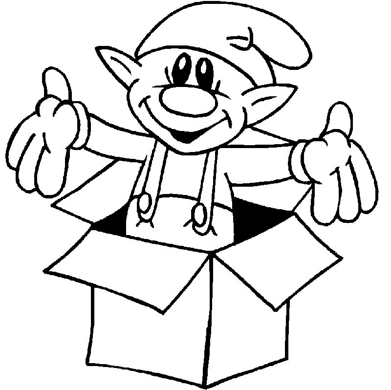 Christmas Elf Present Coloring Pages