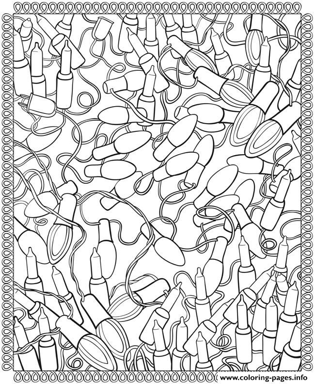 Christmas Lights Coloring Pages For Adults