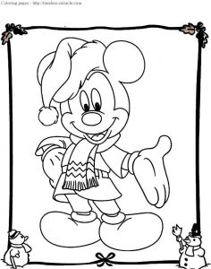 Christmas mickey coloring page