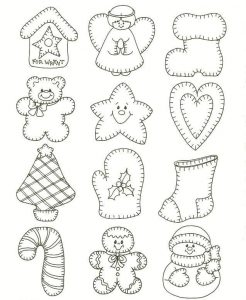 Christmas ornaments coloring page cutout template