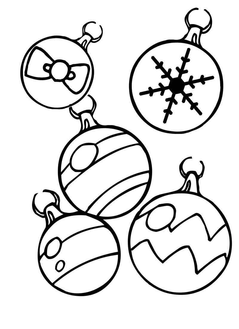 Christmas Ornaments Coloring Page Printables