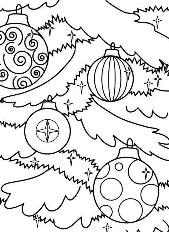 Christmas Ornaments On A Tree Coloring Page