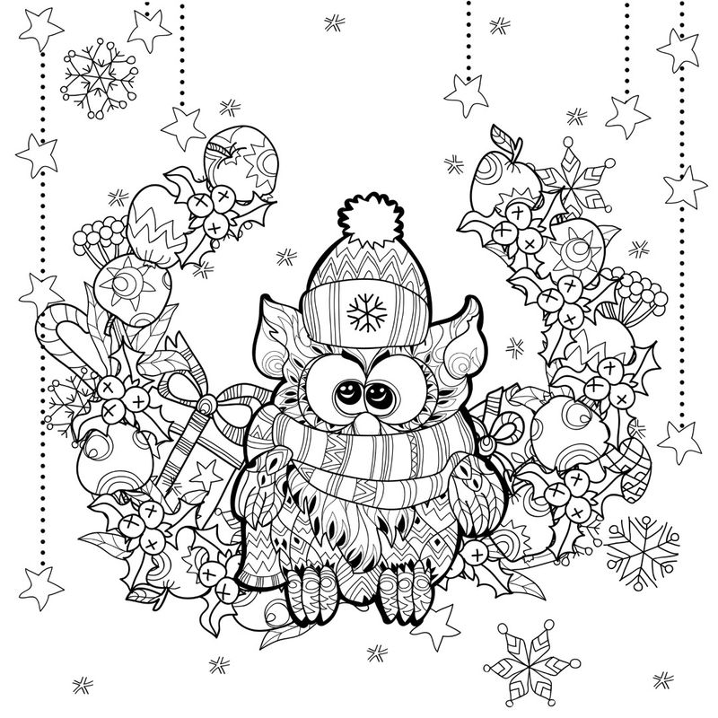 Christmas Owl Coloring Pages For Adults