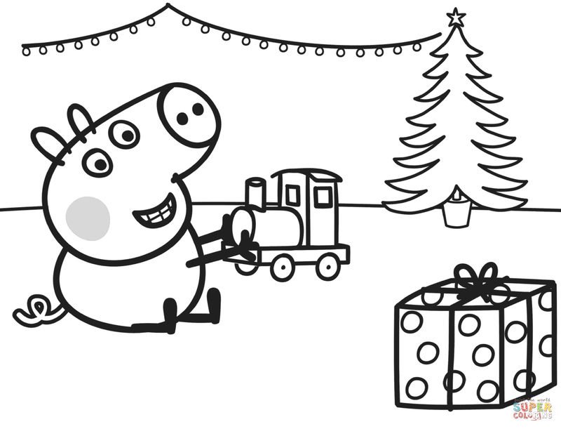 Christmas Peppa Pig Coloring Pictures