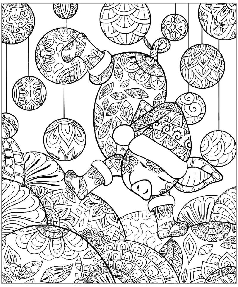 Christmas Piggy Coloring Pages For Adults