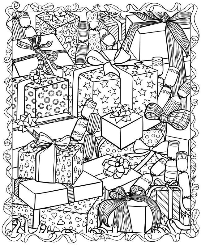 Christmas Presents Coloring Pages For Adults