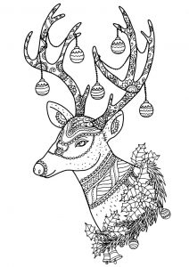 Christmas reindeer design coloring pages for adults