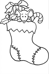 Christmas stocking coloring page 001
