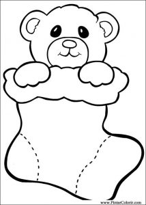 Christmas stocking coloring page for preschool
