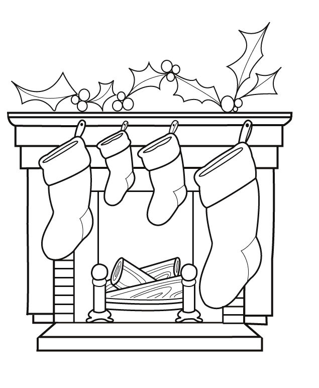Christmas Stocking Coloring Page Scene 001