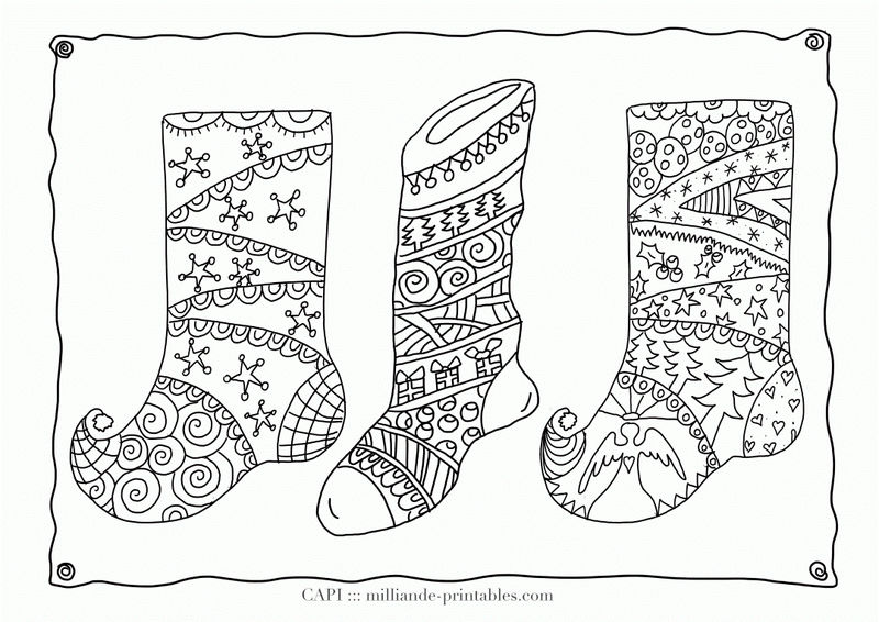 Christmas Stockings Coloring Page For Adults