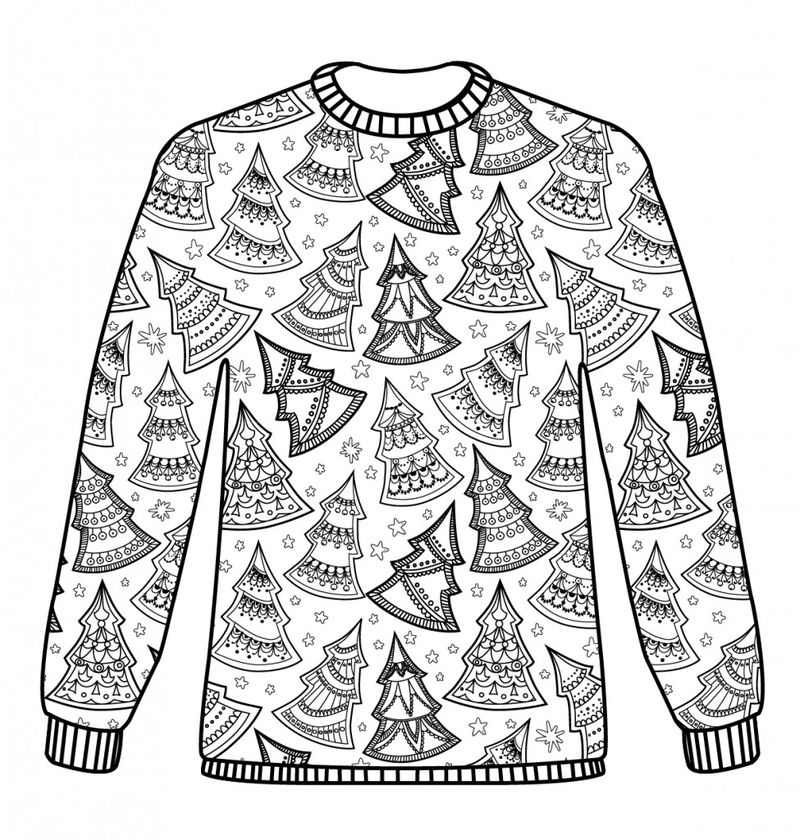 Christmas Sweater Coloring Pages For Adults