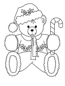Christmas ted with candy cane coloring page