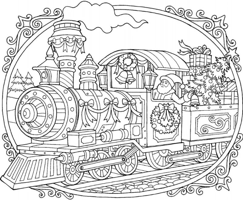 Christmas Train Coloring Pages For Adults