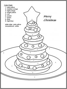 Christmas tree cake christmas color by numbers 001
