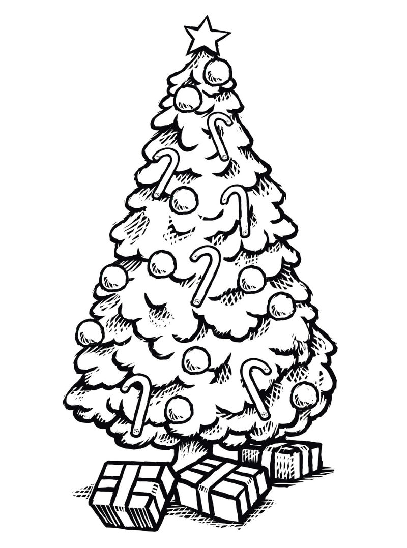 Christmas Tree Coloring Pages 1