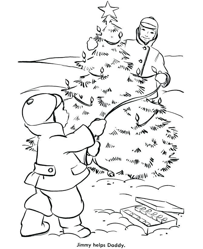 Christmas Tree Decorating Coloring Page