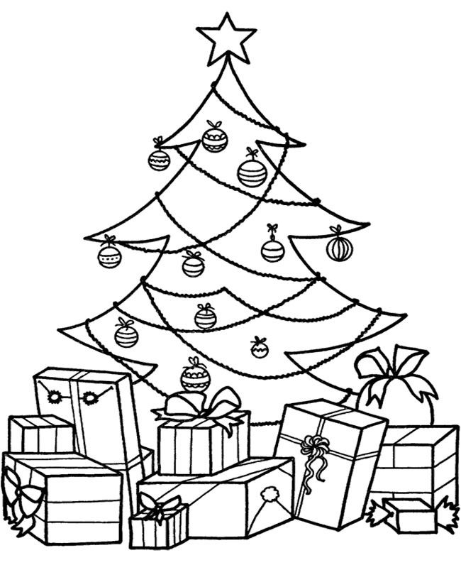 Christmas Tree With Presents Coloring Pages