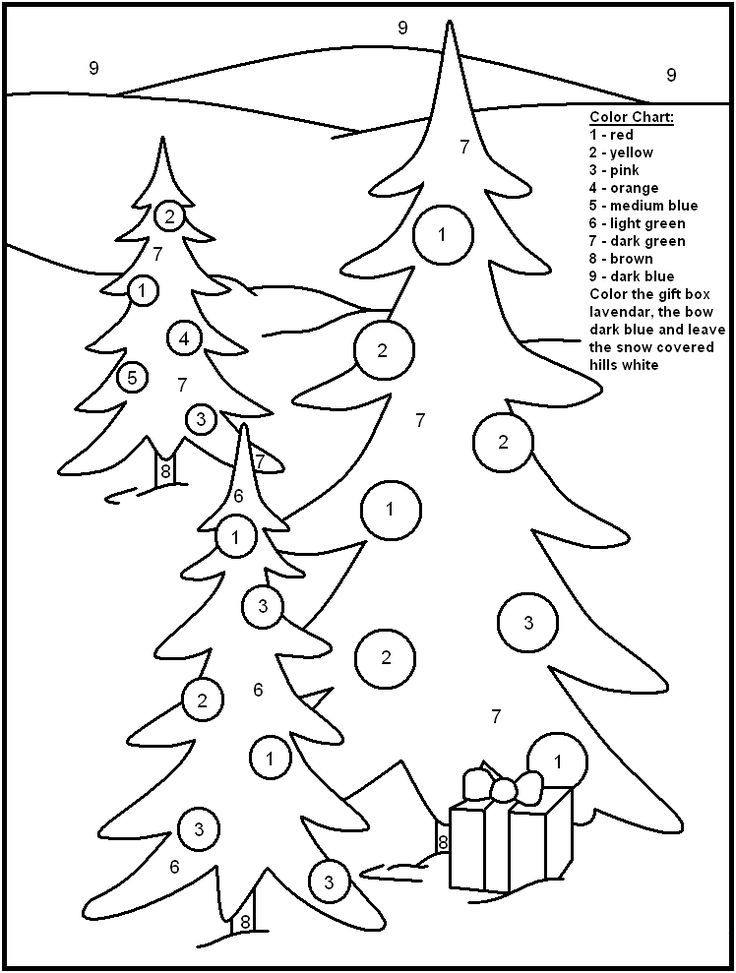 Christmas Trees Christmas Color By Numbers 001