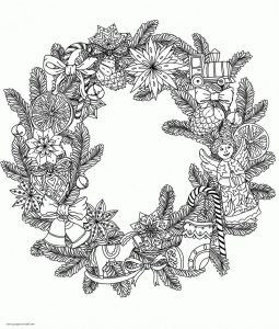 Christmas wreath ornaments coloring page for adults