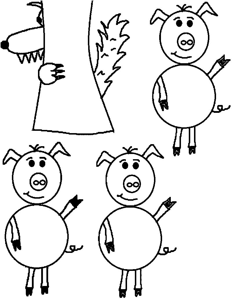 Church 3 Little Pigs Coloring Page