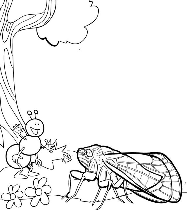 Cicada And Ant Coloring Page