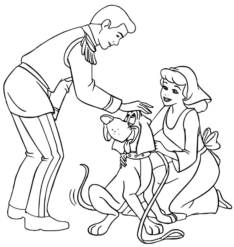 Cinderella And Prince Charming And Dog Coloring Pages