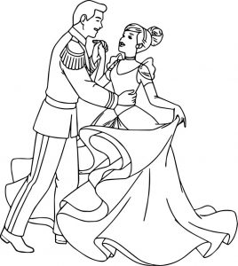 Cinderella and prince charming dance show time coloring pages