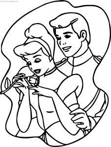 Cinderella and prince charming frame coloring pages