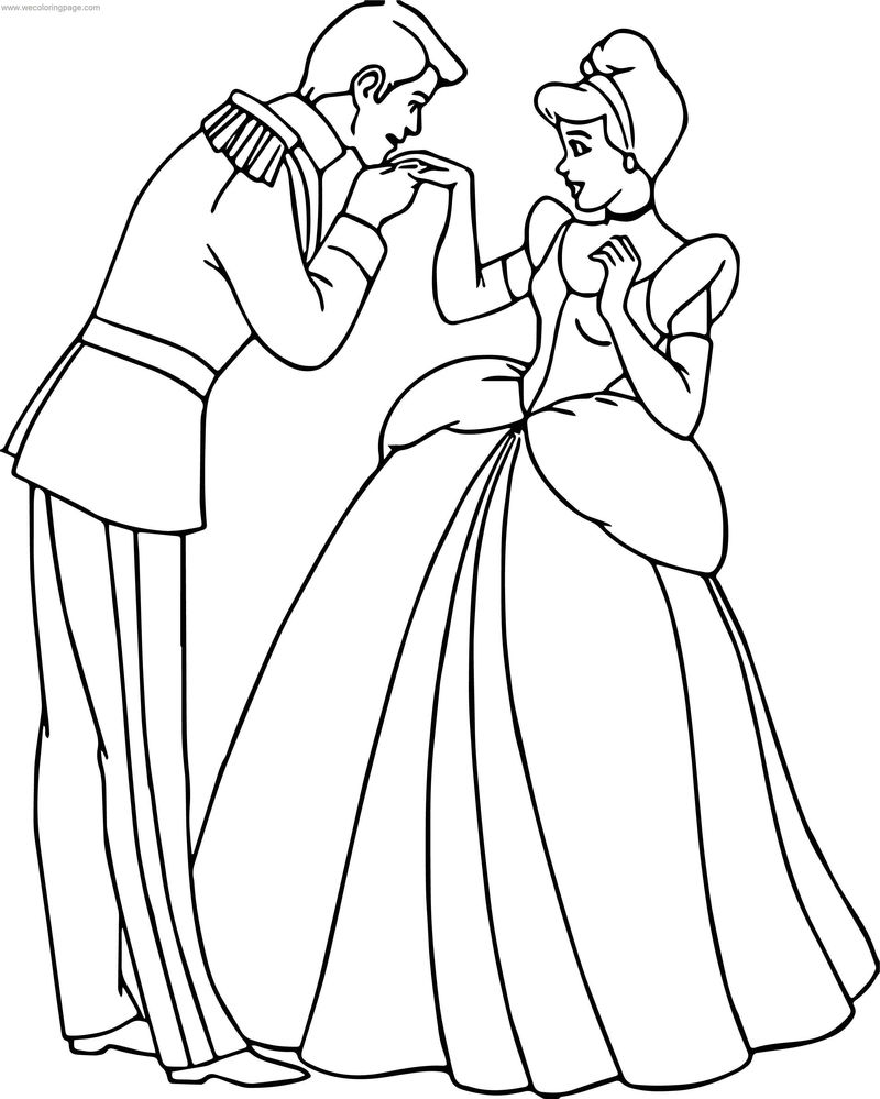 Cinderella And Prince Charming Kiss Hand Coloring Pages
