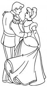 Cinderella and prince charming star dancing coloring pages