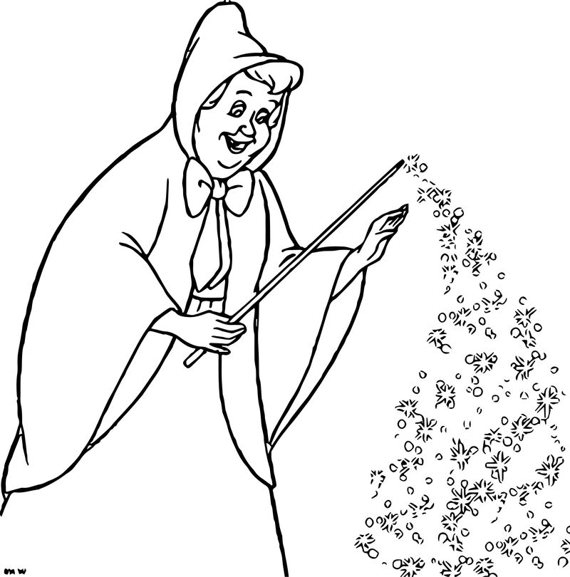 Cinderella Fairy Godmother Coloring Pages 02