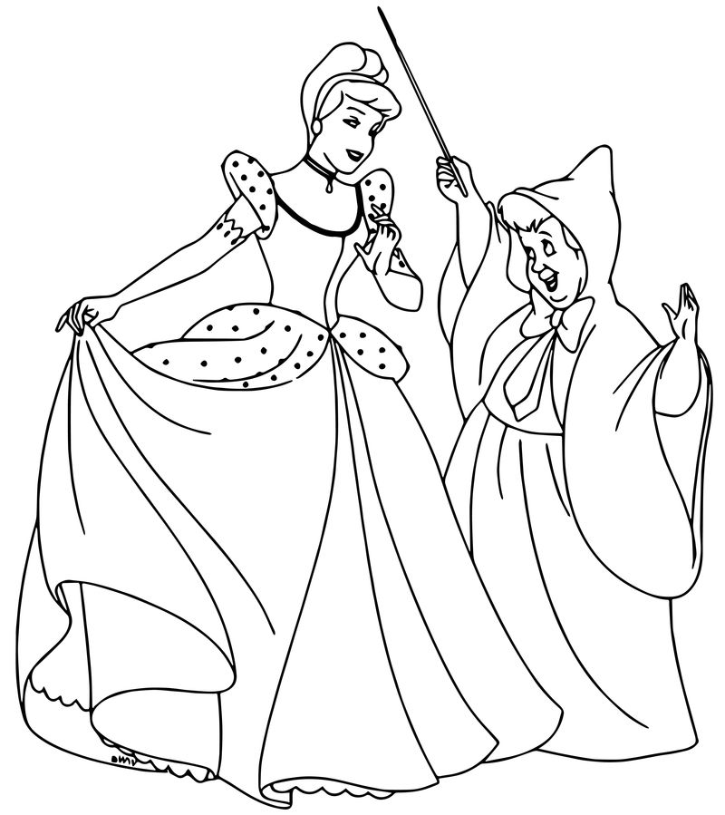 Cinderella Fairy Godmother Coloring Pages 03