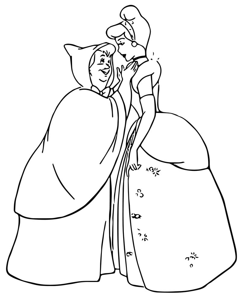 Cinderella Fairy Godmother Coloring Pages 09