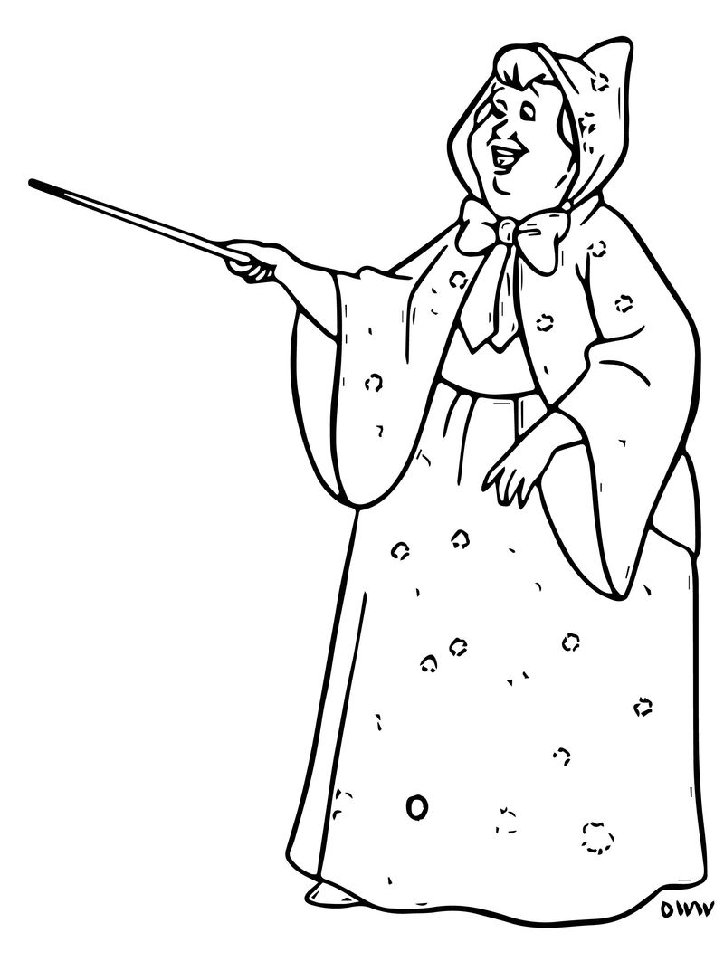 Cinderella Fairy Godmother Coloring Pages 11
