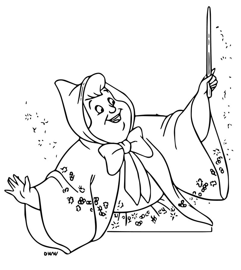 Cinderella Fairy Godmother Coloring Pages 19