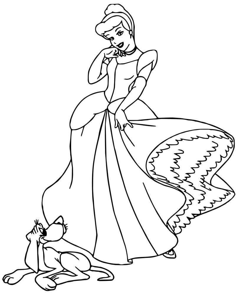 Cinderella Mice And Birds And Dog Pose Coloring Pages