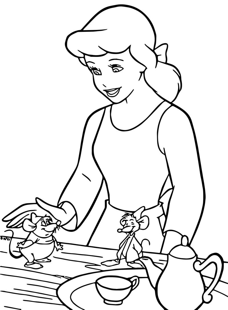 Cinderella Mice And Birds Coloring Pages 12