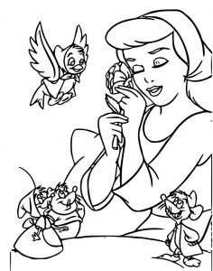 Cinderella mice and birds coloring pages 17