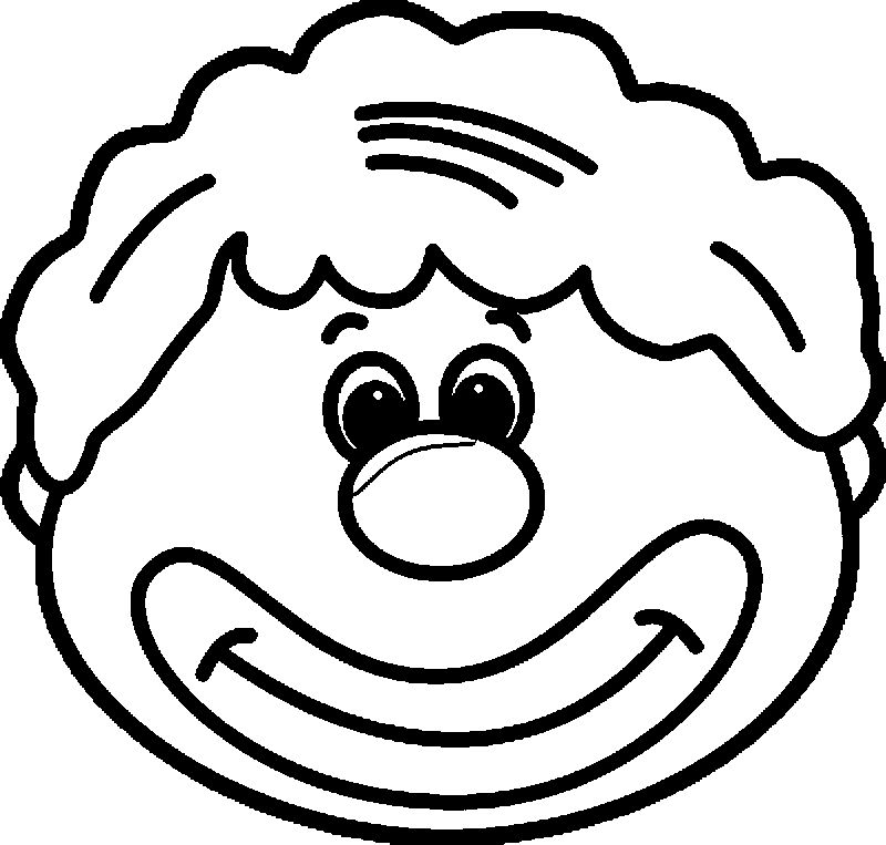 Circus Clown Face Coloring Page