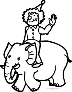 Circus clown on elephant coloring page