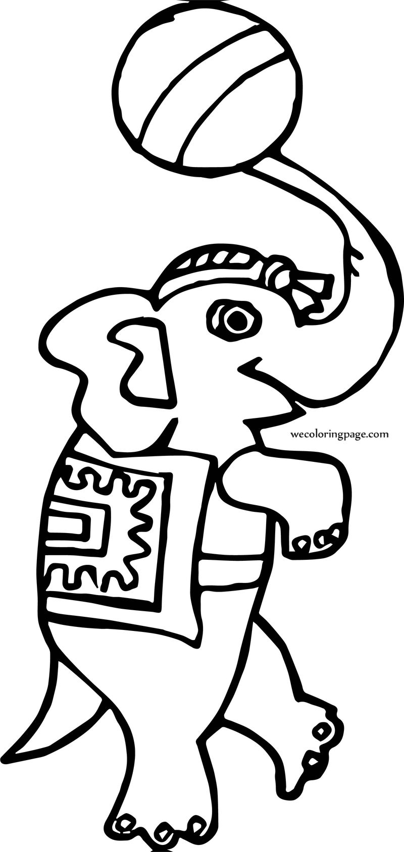 Circus Elephant On Tongue Coloring Page