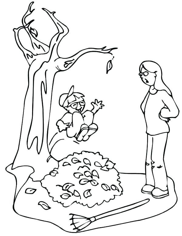 Cleaning fall leaves coloring pages