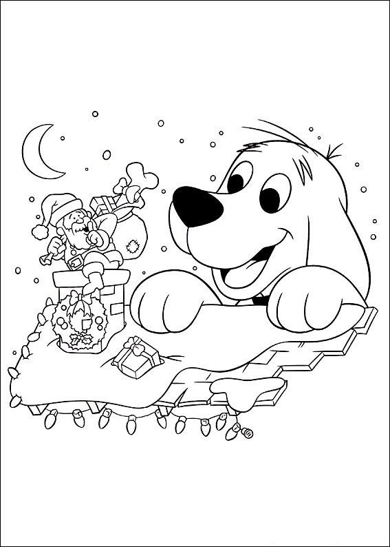 Clifford Christmas Coloring Picture 1