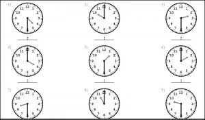 Clock face worksheet printable