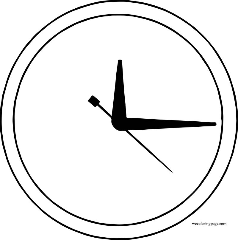 Clock None Number Coloring Page