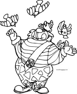 Clown birds coloring page