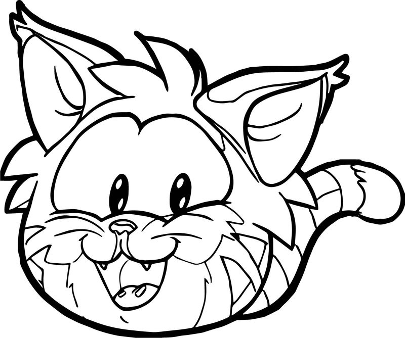 Club Penguin Cat Face Coloring Page