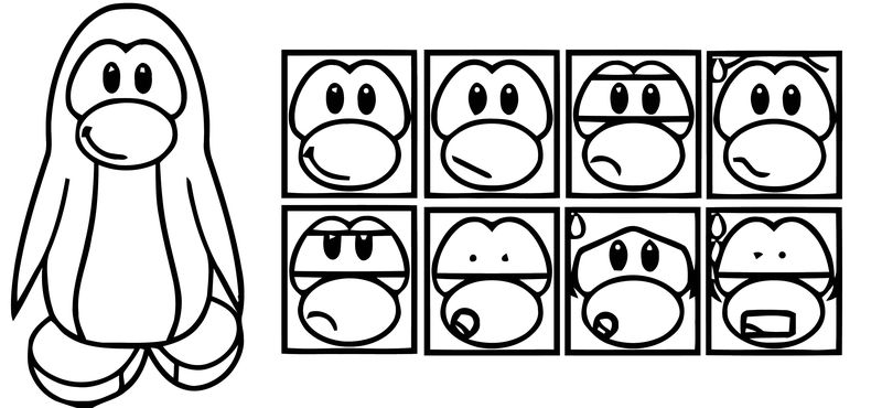 Club Penguin Template Coloring Page