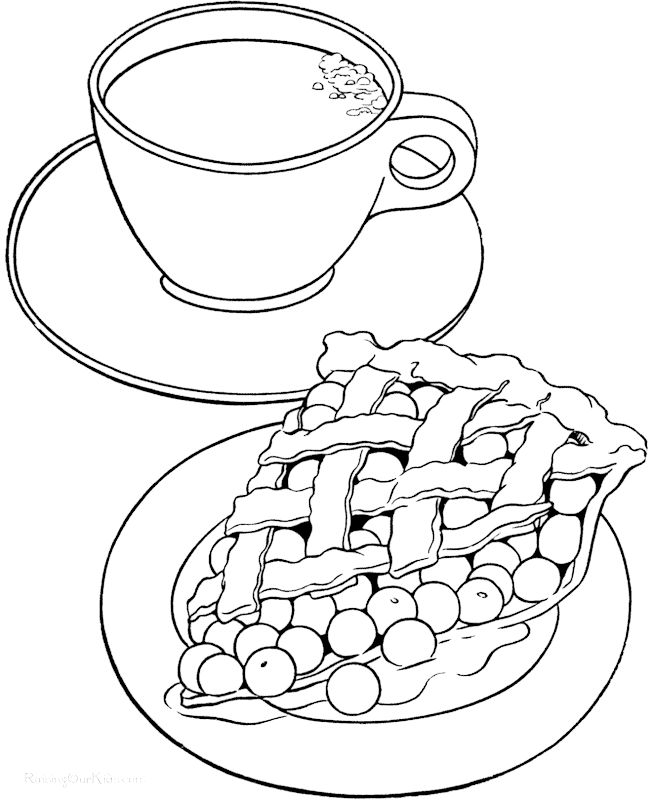 Coffee And Waffle Coloring Page Food Coloring Pictures